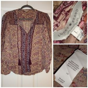 Lucky Brand Indian style print boho long sleeve